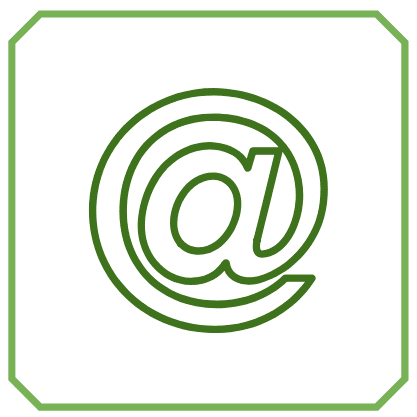 Illustration of an @ symbol in the center of a simple frame, indicating a brand new account