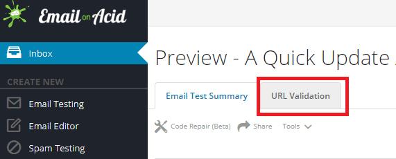 URL Validation tab