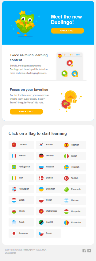 Duolingo upgrade email
