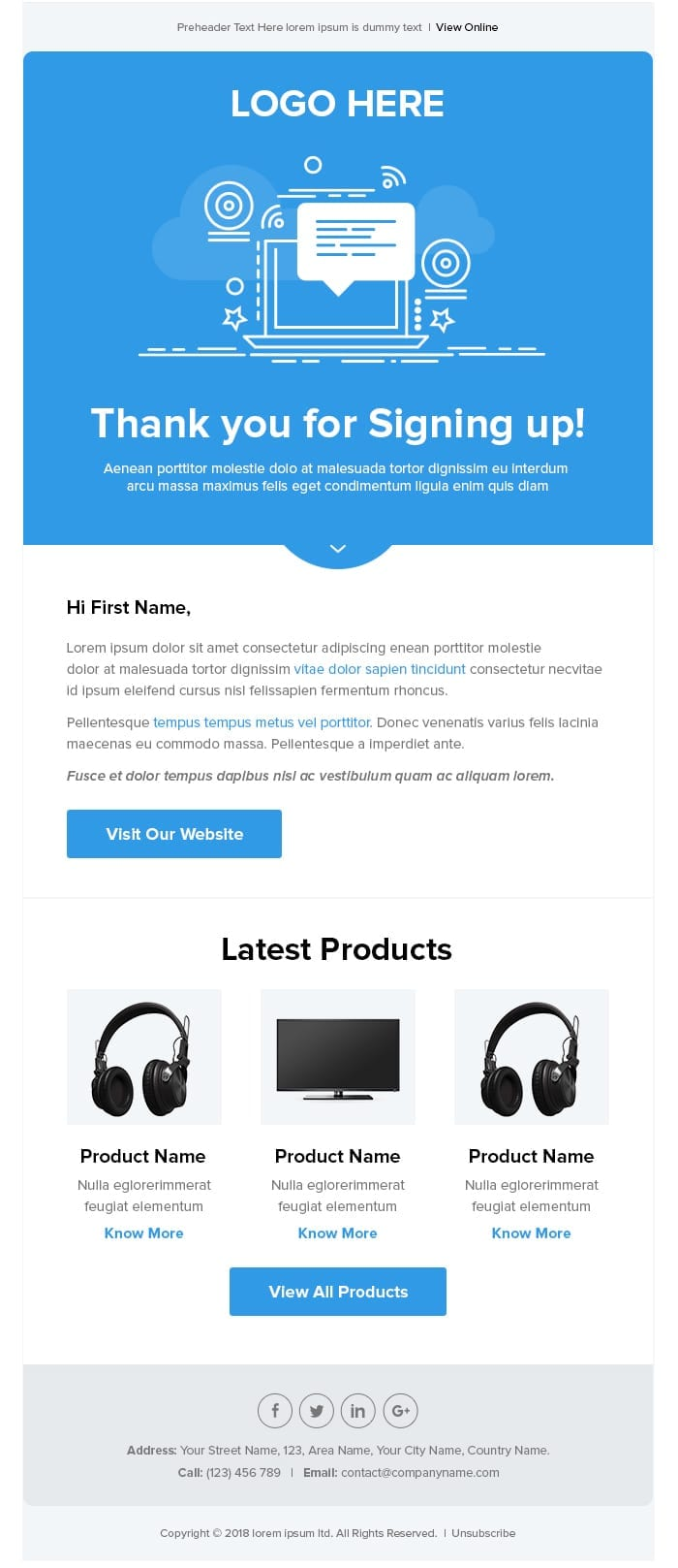 Blue And Whimsical Welcome Series And Abandon Cart Email Templates