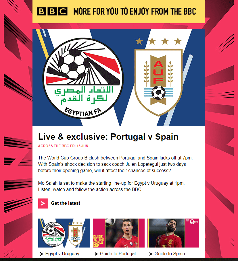 World cup email from the BBC