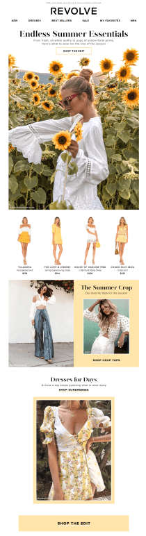 Revolve Clothing summer email
