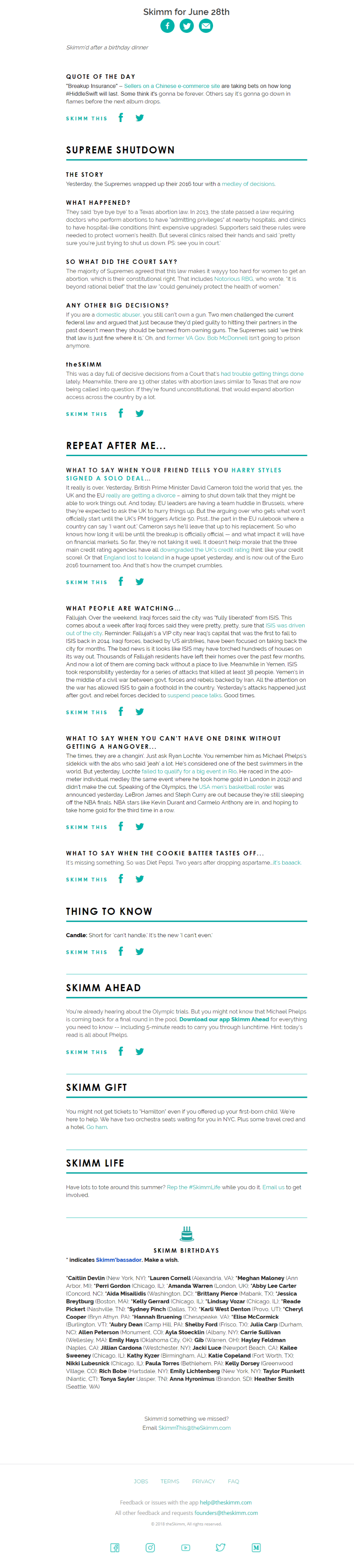 The Skimm newsletter