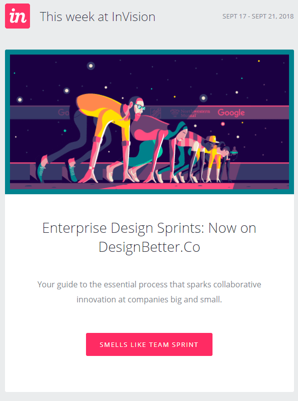 InVision sprint guide email