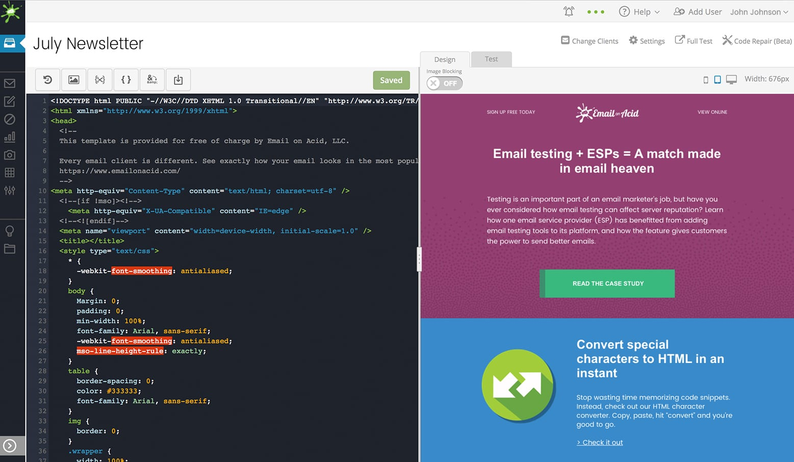Email Editor in use