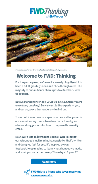 AWeber FWD: Thinking Launch Email