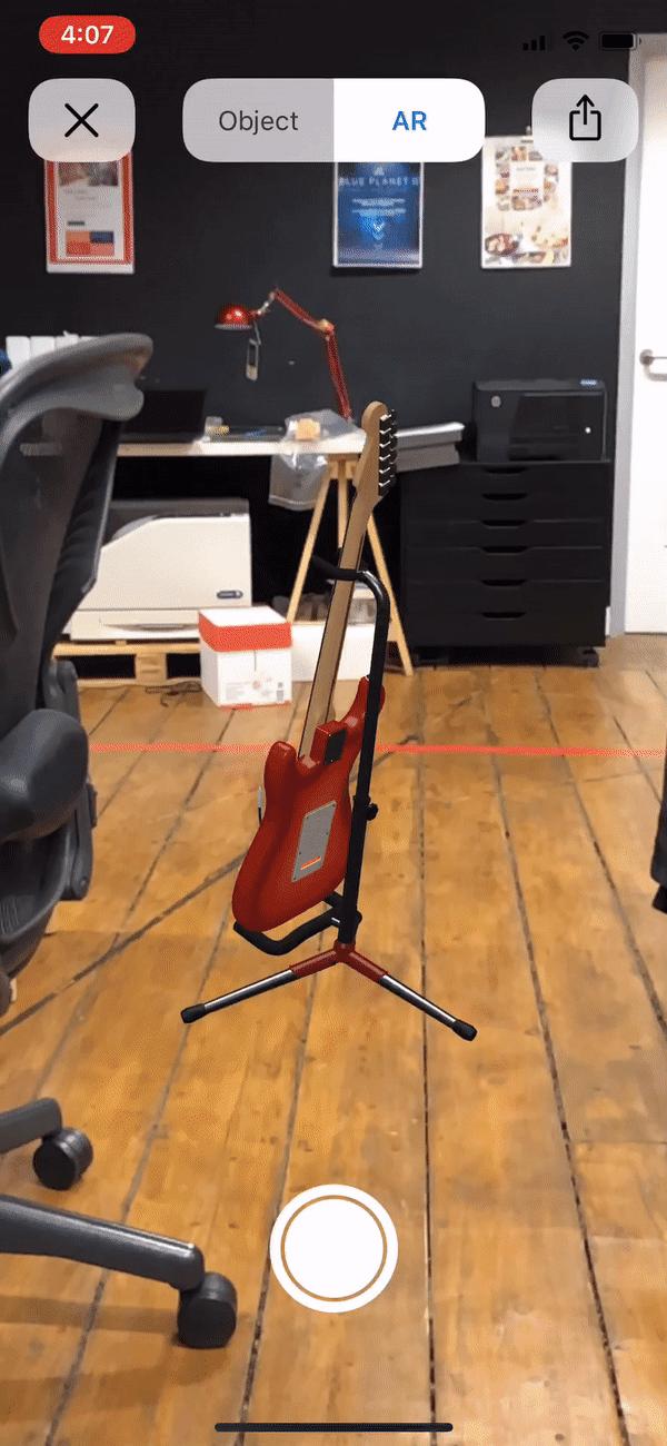 ARKit 2.0 guitar in office