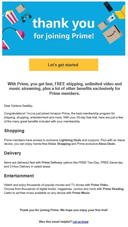 Amazon Prime welcome email