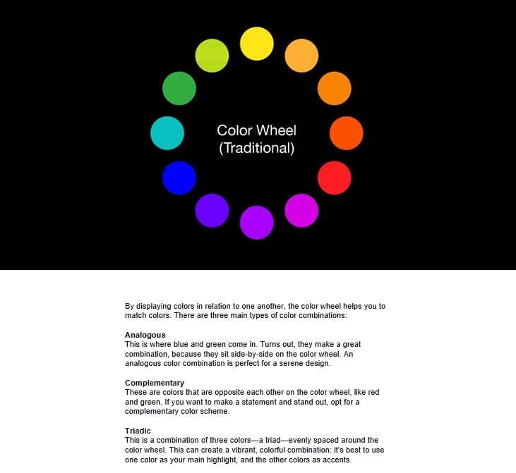 Canva static color wheel email