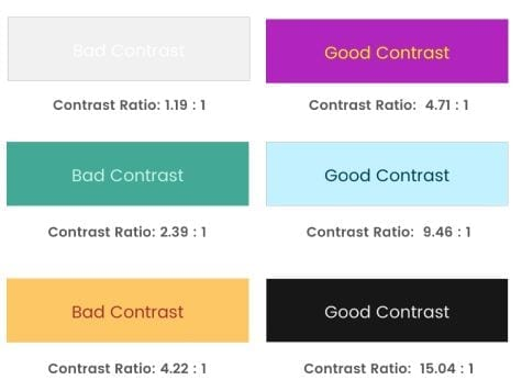 color contrast ratio examples
