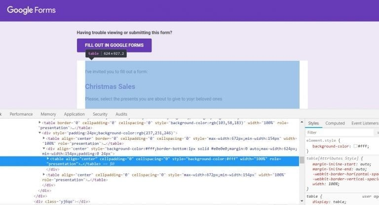 Copying the Embed code Google Forms