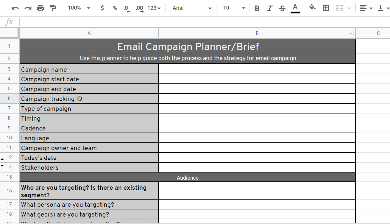 email campaign brief