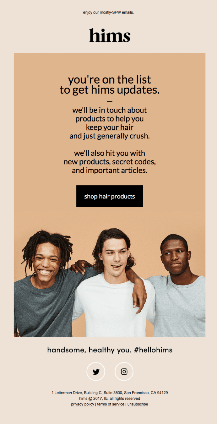 Hims brand welcome email example