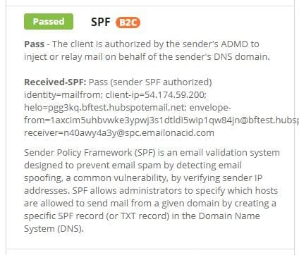 SPF result in Email on Acid spam testing