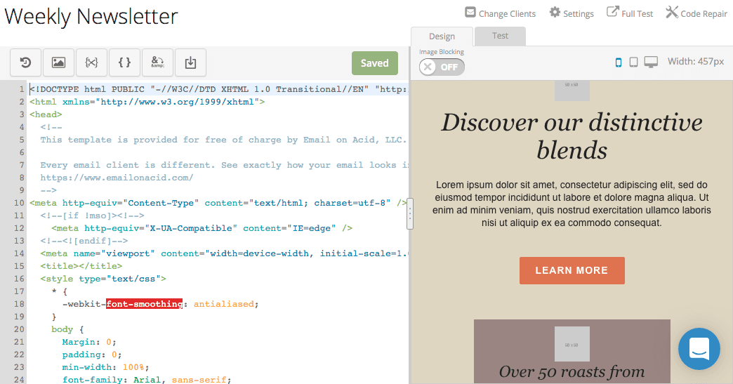 Email Editor's seamless workflow allows easy edits to HTML and email design in one pane