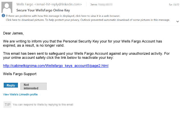 Example of a phishing scam for banking information