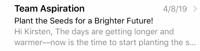 Aspiration's Inbox Display is lacking in any motivation for the user to open their email
