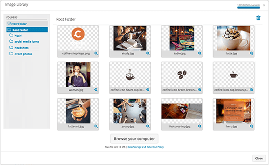 Store your images in our library for easy reference
