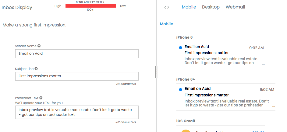 Inbox Display for email QA