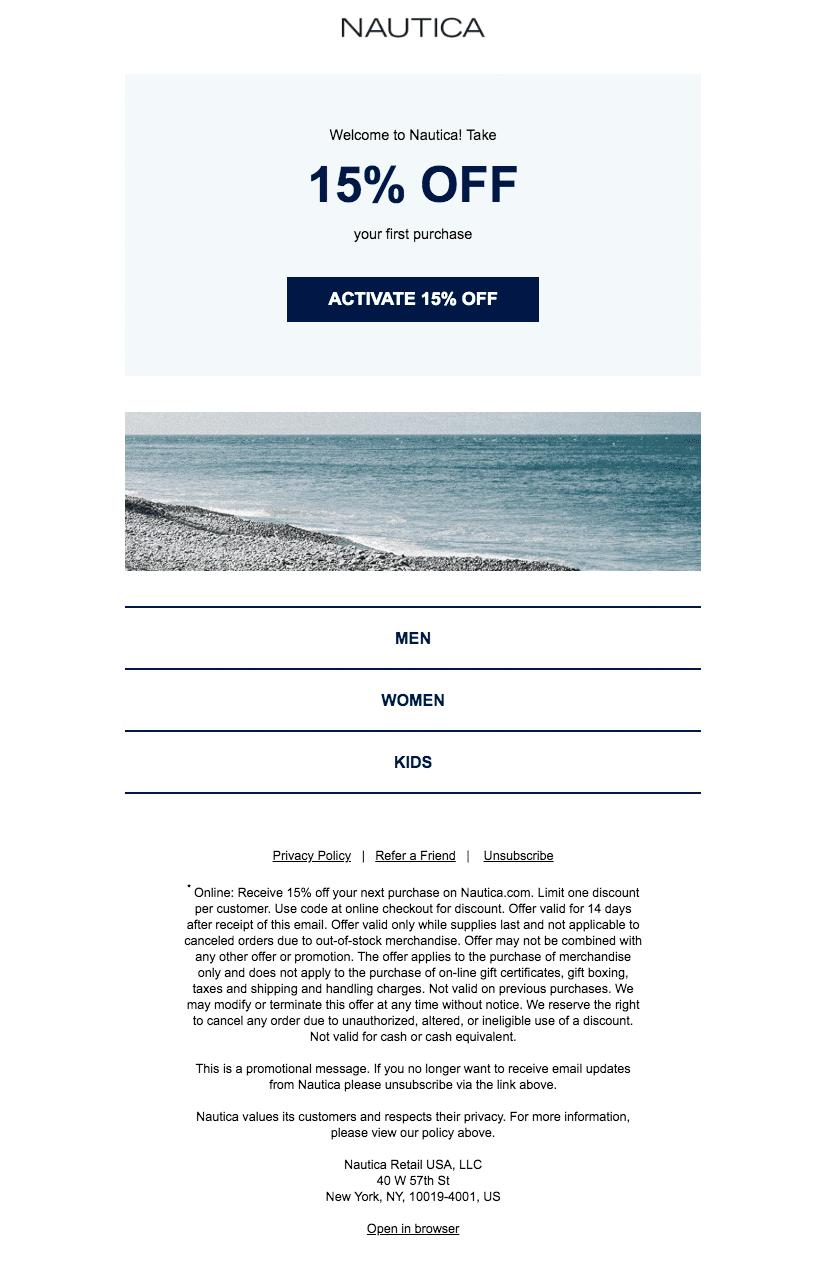 Nautica welcome email