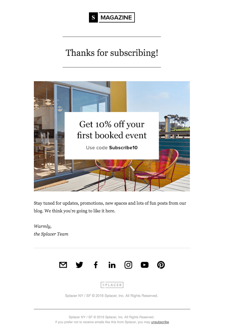 Splacer Magazine welcome email