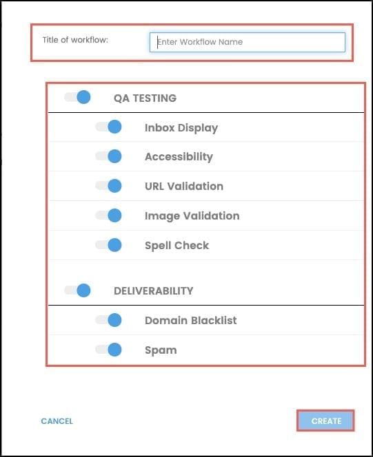 Select which options are needed in the workflow