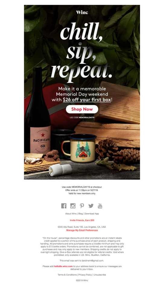 Winc's Memorial Day Promotion