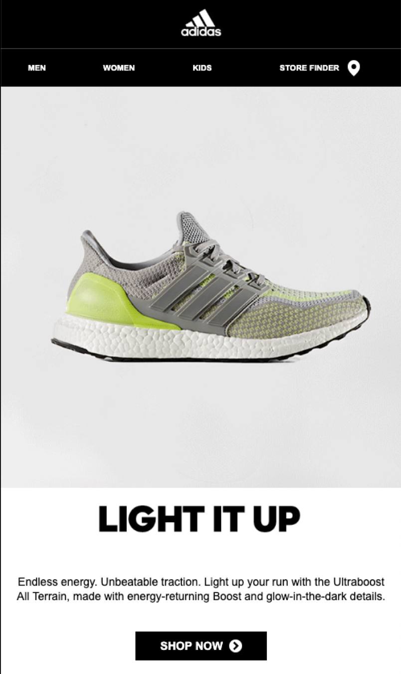 Adidas's simple, mobile-friendly email design and layout