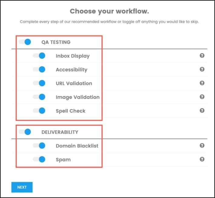 Choose your Workflow from the Options