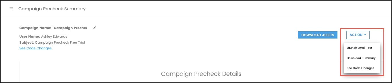 Launching an email test from campaign precheck