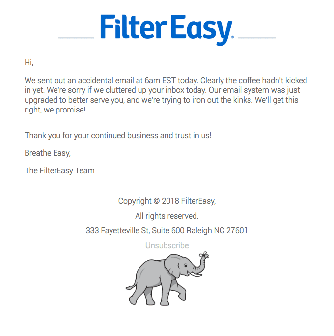 FilterEasy's apology email example