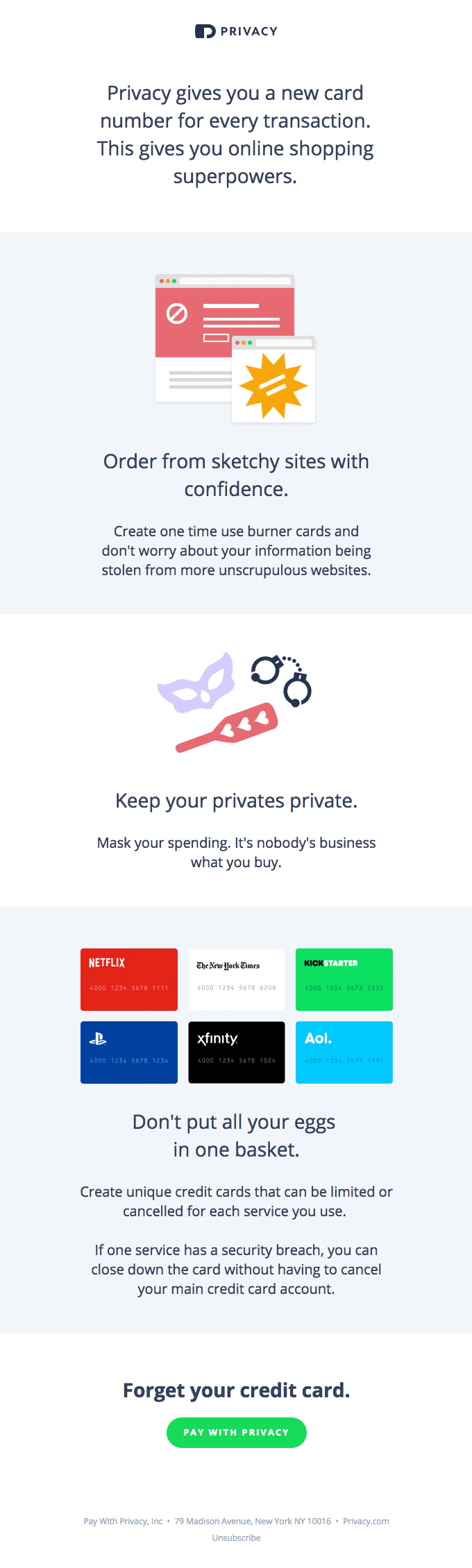 Privacy's onboarding email example