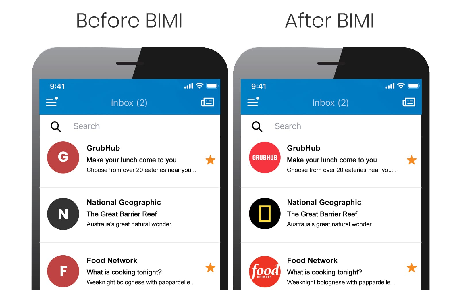 Before and after of an inbox with BIMI implemented