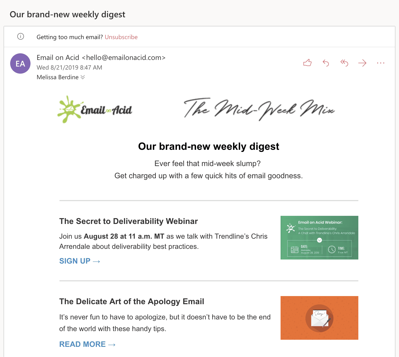 Email in light mode