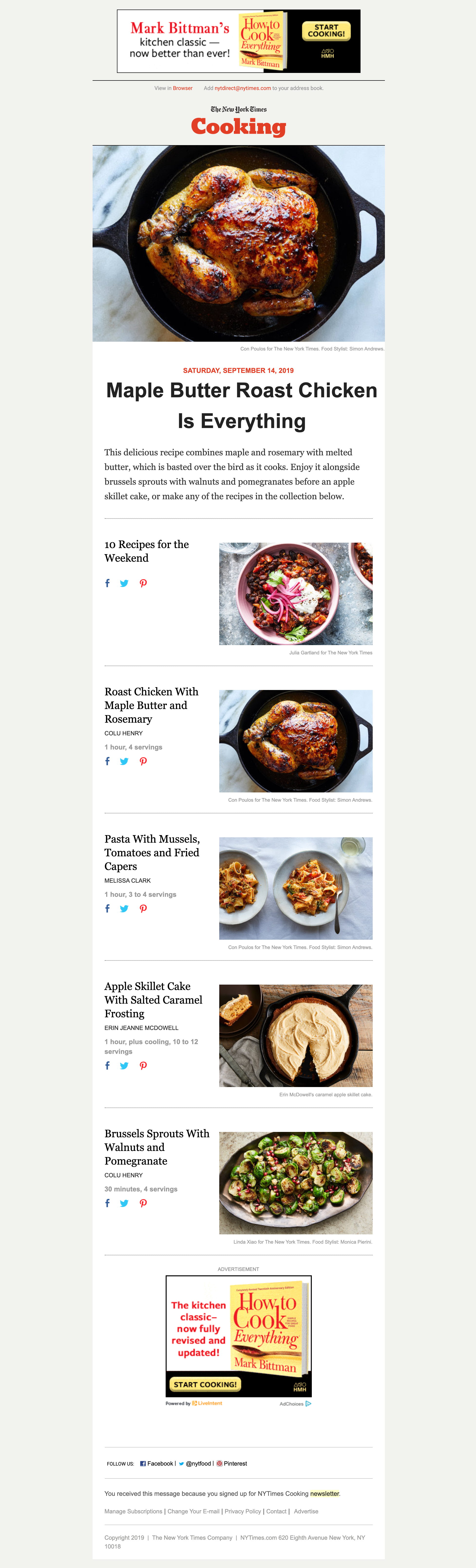 The New York Times Cooking's email