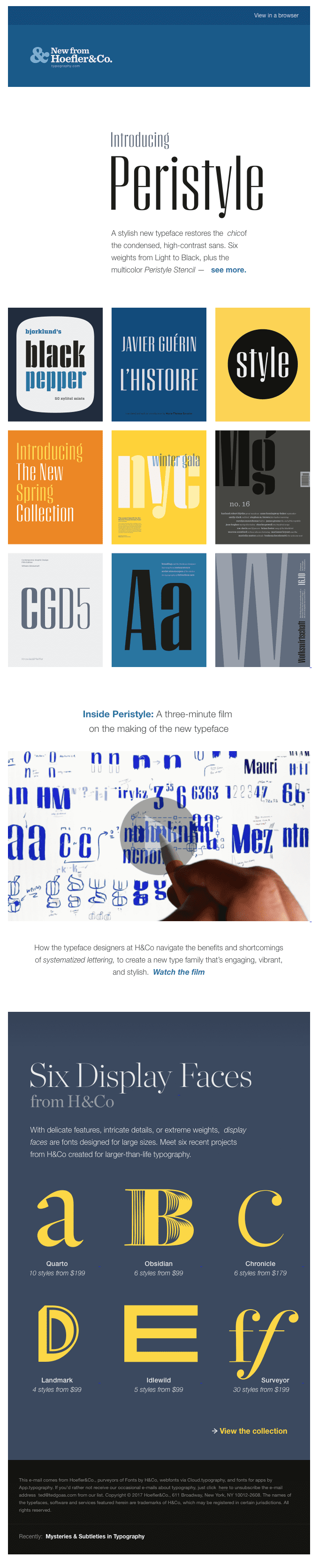 Funky fonts in email from Hoefler & Co.