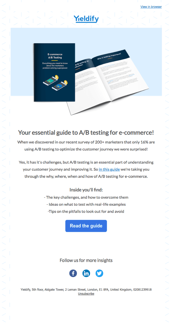 A free resource email offering by Yieldify