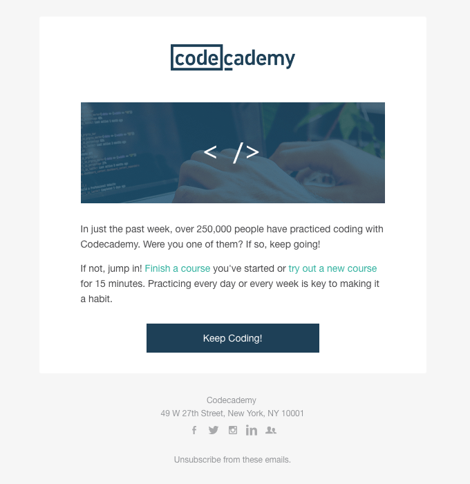 Codecademy email with a single-column layout