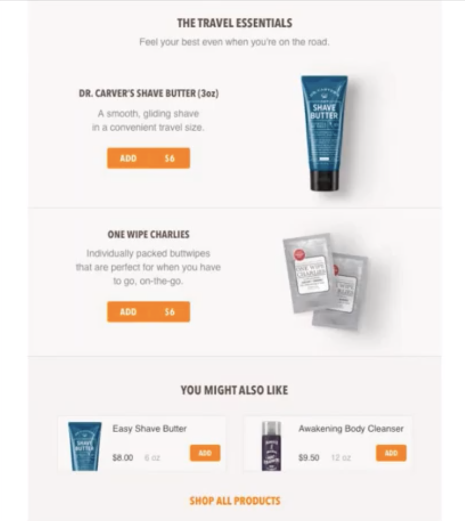 Dollar Shave Club's email with both price formats