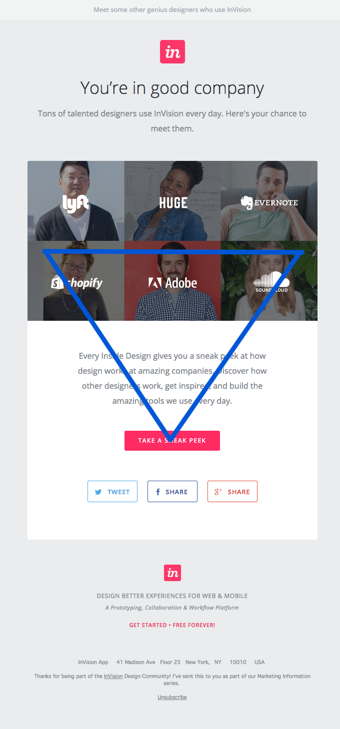 InVision email with concise, center-aligned text