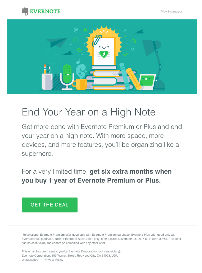 Evernote's upsell email